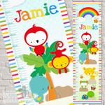 (Rainbow Rainforest  Fabric Height Chart) Digital print on banner cloth 30x106cm