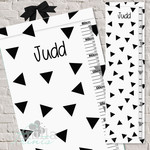 (Scattered Triangles Fabric Height Chart ) Personalised - 30x106cm