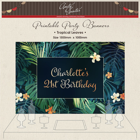 DIGITAL Printable Party Banner Buffet Dessert Tableropical Leaves Palm Hibiscus