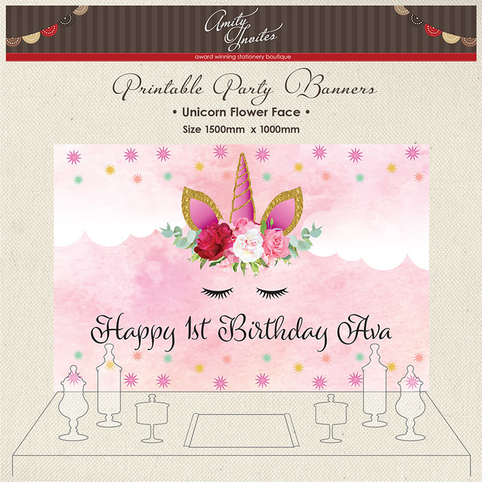 photograph about Unicorn Face Printable referred to as Electronic Printable Get together Banner Backdrop Birthday Unicorn