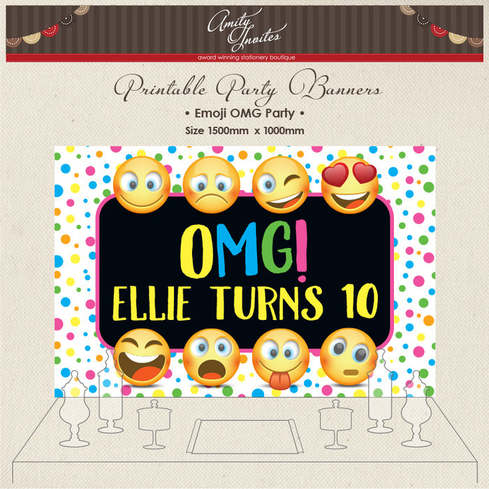 DIGITAL Printable Party Banner Backdrop Birthday Emoji OMG Social Media Faces