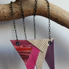 Recycled leather in pink, purple and silver on black chain