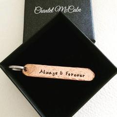 Personalised copper 7th anniversary narrow keyring, Perth WA