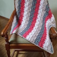 Wrap or Knee rug, Lapghan, small crochet throw.  Wool blend.