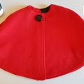 """little red riding hood"" Cape in red wool with Mickey mouse lining. Size 3-4"