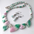 SET: Genuine Candy JADE Gemstones Necklace and Matching Earrings.