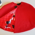 """""""little red riding hood"""" Cape in red wool with Mickey mouse lining. Size 3-4"""