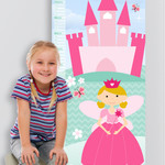 (Fairytale Princess Fabric Height Chart ) Personalised - 30x106cm