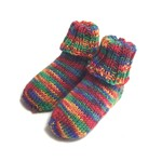 Baby Sock Booties, Rainbow,  Wool, 0-6 mths, Hand Knit