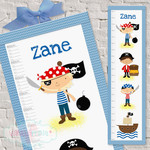 (Pirates Fabric Height Chart ) Personalised - 30x106cm