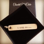 Personalised bronze 8th anniversary narrow keyring, Perth WA
