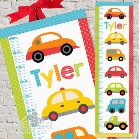 (Bright Cars Fabric Height Chart ) Personalised - 30x106cm
