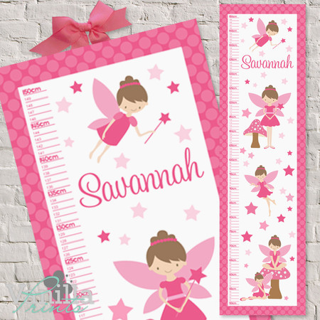 (Pink Star Fairy Fabric Height Chart ) Personalised - 30x106cm