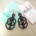 Modern Black double ring Tatted Earrings#Jewellery#vintage#Boho