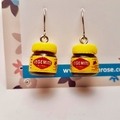 Vegemite inspired - Vegemite earrings - drop earrings - breakfast earrings