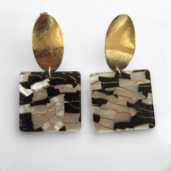 Marbled acrylic and gold dangles