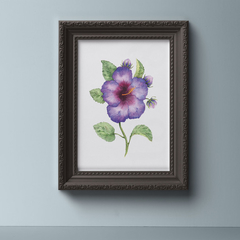 Watercolour Hibiscus Instant Download Printable Floral Wall Art   A3, A4, A5