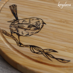 Wood Burnt Little Wren Bamboo Cutting Board