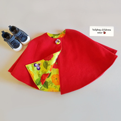 """little red riding hood"" Cape in red wool with bright pansy lining. Size 2-3"
