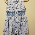 Hand smocked long leg romper. Blue floral cotton. Size 1
