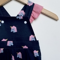 Baby Girl Size 1 UNICORN Overalls Navy, pink - more sizes available