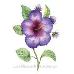 Watercolour Hibiscus ~ A4 Fine Art Giclee Print Botanical Floral Wall Art Decor