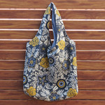 Grocery Bag - Abstract Grey Floral Print - Reversible