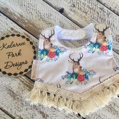 "Boho Baby Bib with Cotton Fringe ""Floral Deer on Cream"""