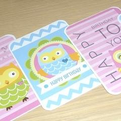Set 5 Happy Birthday cards - owls