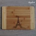 Wood Burnt Eiffel Tower Bamboo Cutting Board