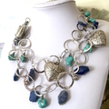 Free Form Blue TURQUOISE, Lapis Lazuli, Sodolite Statement 'Heart' Necklace.