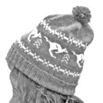 Australian wool beanie with kangaroo fairisle