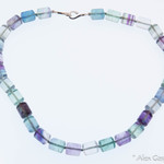 Fluorite Beads with Sterling Silver Clasp