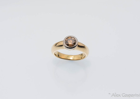 18ct Gold Solitaire Champagne Diamond Engagement Dress Ring SOLD