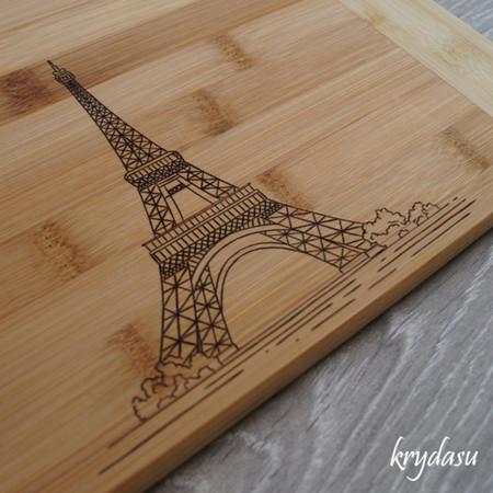Wood Burnt Eiffel Tower Bamboo Cutting Board