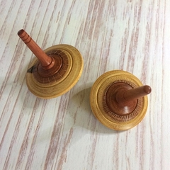 Set of Two Hand Turned 'Dead Finish' Spinning Tops (Items DF 089 a & b)