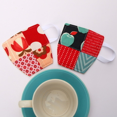 2 x Patchwork Fabric Cup Coasters - Red & Blue, Dots, Apples