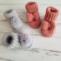 Made to Order - Bow Booties - Hand Knitted - Pure Merino Wool