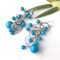 Turquoise Beads, Silver Statement Handmade Earrings.