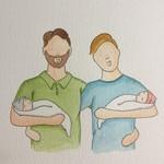 20x20 Custom Portrait (torso) - 2 adults, 2 babies