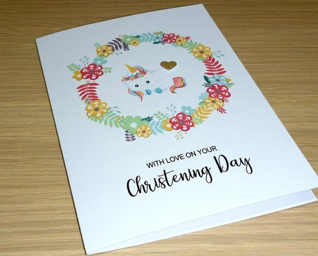 Christening Day card - baby unicorn