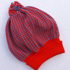Red and grey cotton slouchy beanie: toddler to child size.