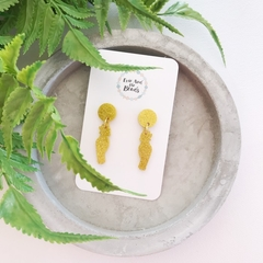 Gold Glitter Cockatoo Dangle Earrings
