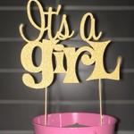 Baby shower cake topper - girl or boy - glitter card stock