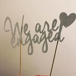 We are engaged cake topper - engagement glitter cardstock