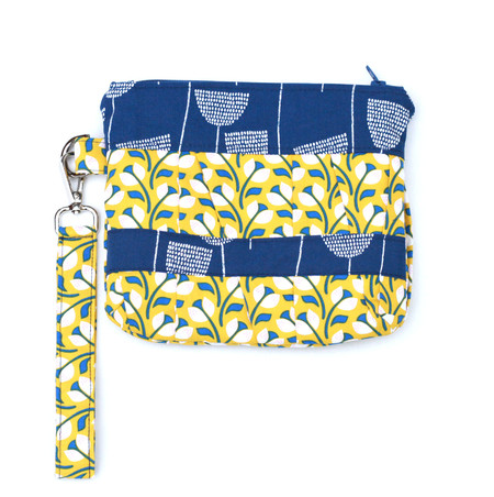 Pleated clutch bag, wristlet floral mid blue and mustard yellow
