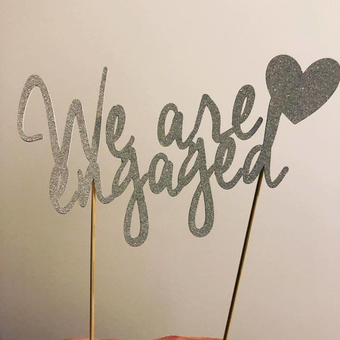 we are engaged cake topper engagement glitter cardstock willow