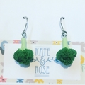 Broccoli - broccoli earrings - drop earrings - veggie earrings - vegan earrings