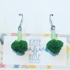 Broccoli - broccoli earrings - drop earrings - veggie earrings - vegan earrings