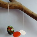 Green, orange and white resin necklace